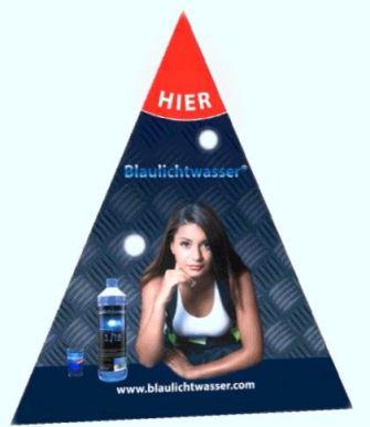"""Blaulichtwasser® -Thekenaufsteller """"Lady-Blaulicht"""""""